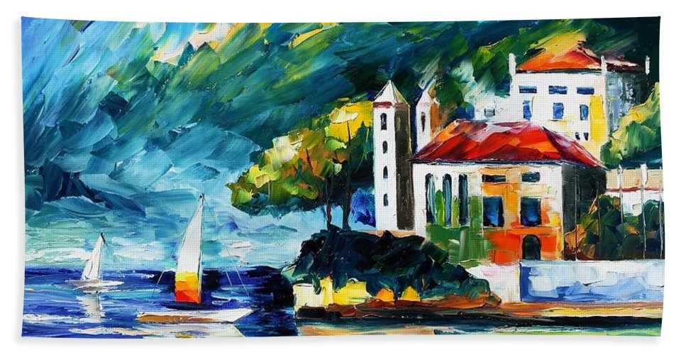 Afremov Bath Sheet featuring the painting Lake Como Italy by Leonid Afremov