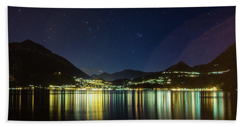 Lake Como Bath Sheet featuring the photograph Lake Como Night Reflections by Patrick Nyberg