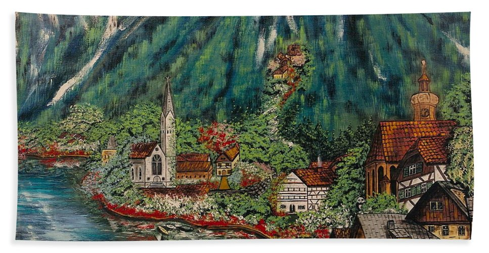 Austria Hand Towel featuring the painting Lake Constance by V Boge