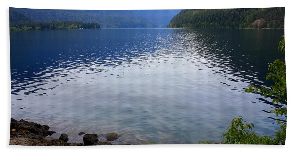Lake Crescent Hand Towel featuring the photograph Lake Crescent - Digital Painting by Carol Groenen