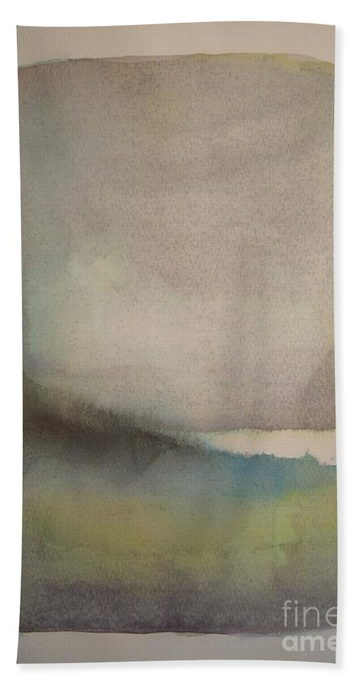 Abstract Hand Towel featuring the painting Lake Dayspring by Vesna Antic