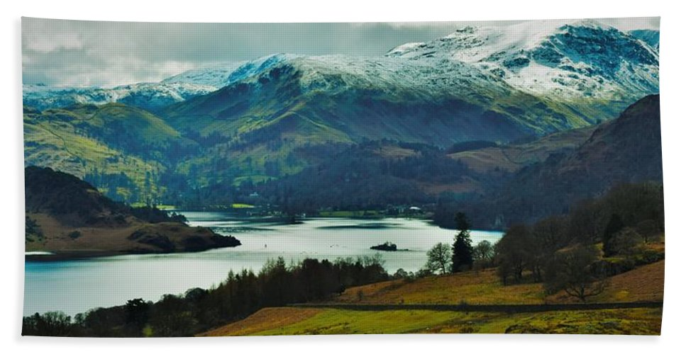 Lake Lakes District Mountains Countryside Landscape Water Walks Hike Snow Grass Green Trees England Great Britain Cumbria Hand Towel featuring the photograph Lake District by Delia Palmer