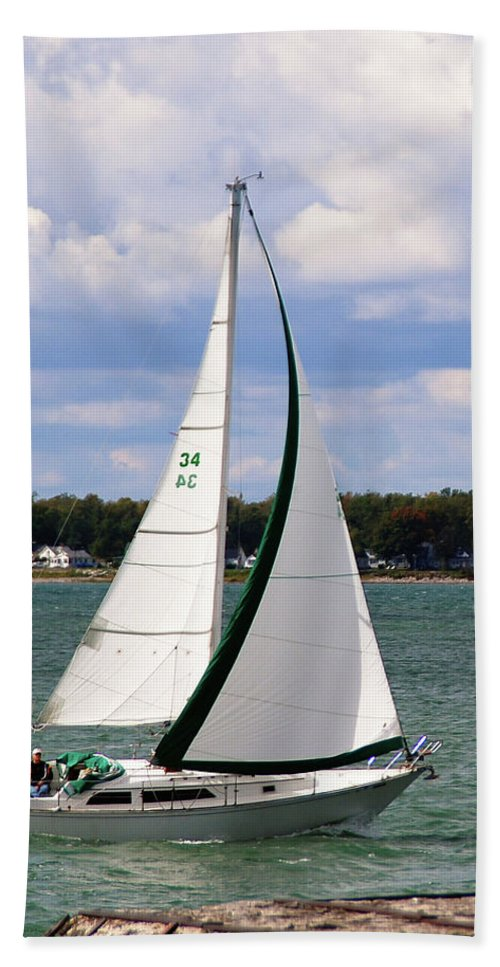 Boat Hand Towel featuring the photograph Lake Erie Sailing 8092 by Guy Whiteley