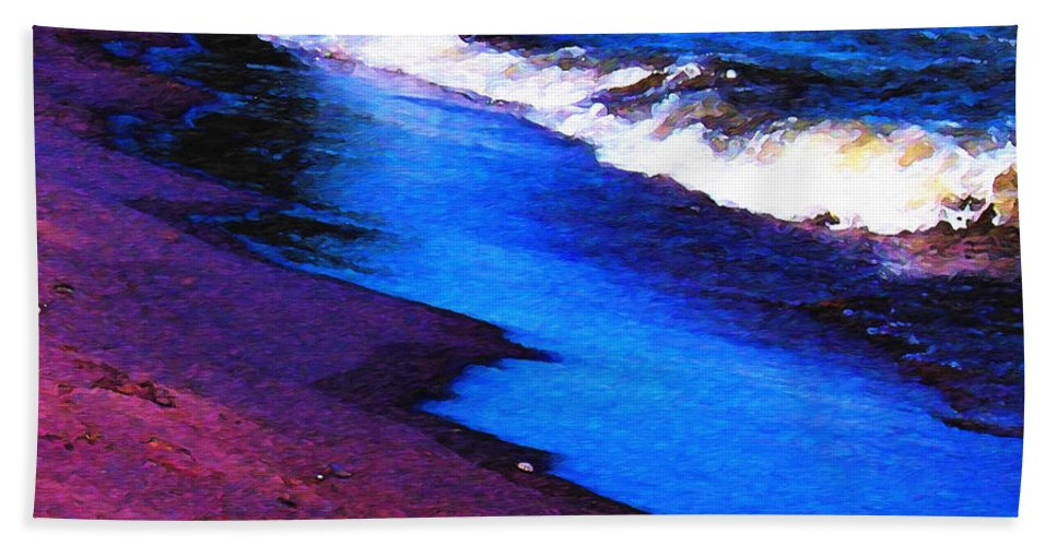 Lake Erie Hand Towel featuring the photograph Lake Erie Shore Abstract by Shawna Rowe