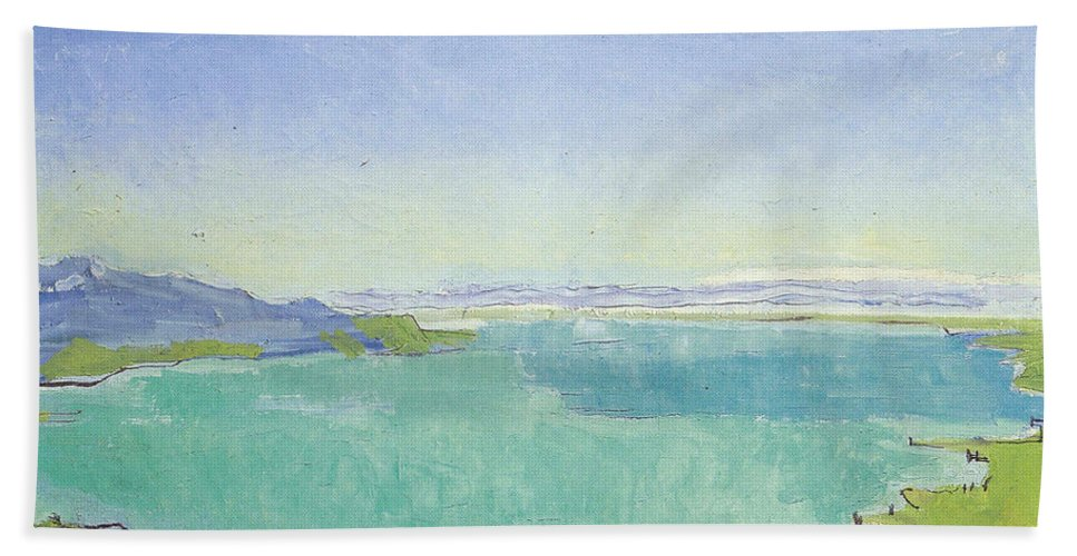Hodler Hand Towel featuring the painting Lake Geneva From The Caux by Ferdinand Hodler