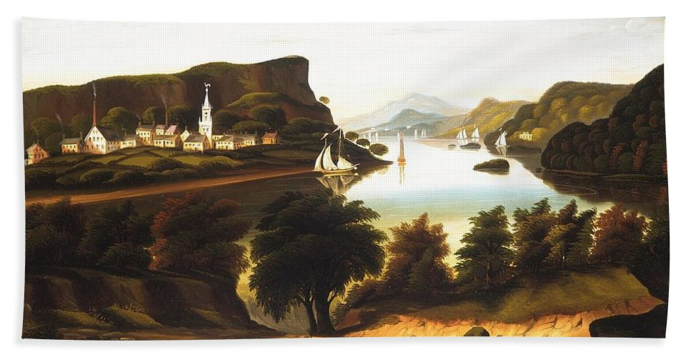 Lake George And The Village Of Caldwell By Thomas Chambers Bath Sheet featuring the painting Lake George And The Village by Thomas Chambers