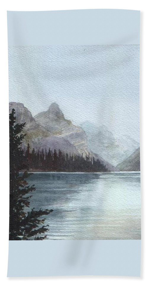 Watercolor Bath Towel featuring the painting Lake Helevorn by Brenda Owen