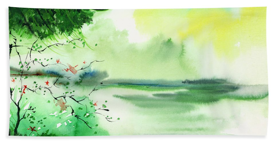 Water Bath Sheet featuring the painting Lake In Clouds by Anil Nene