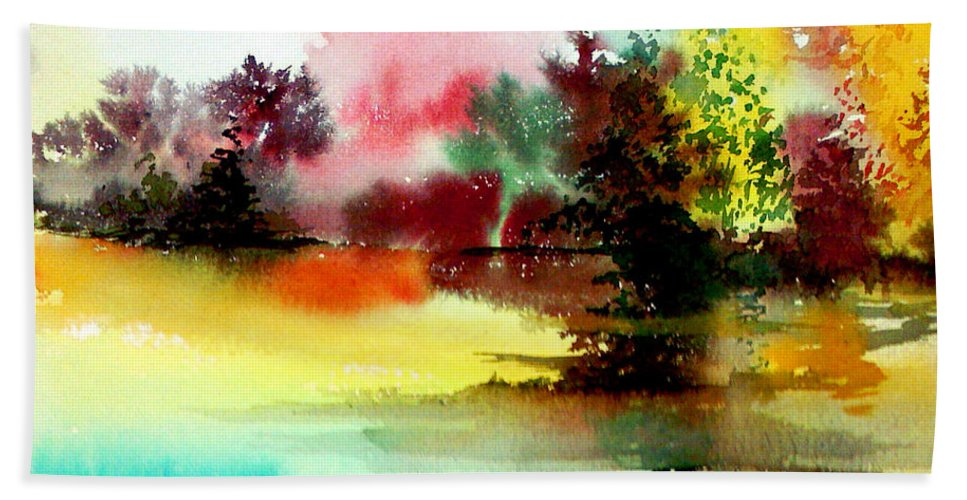 Nature Hand Towel featuring the painting Lake In Colours by Anil Nene