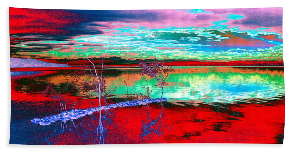 Sea Bath Towel featuring the digital art Lake In Red by Helmut Rottler