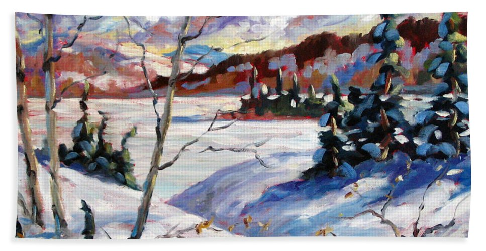 Lake Hand Towel featuring the painting Lake In Winter by Richard T Pranke