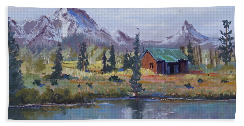 Pastel Landscape Bath Sheet featuring the painting Lake Jenny Cabin Grand Tetons by Heather Coen