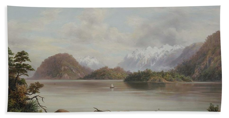 Lake Manapouri Bath Sheet featuring the painting Lake Manapouri by William Baker