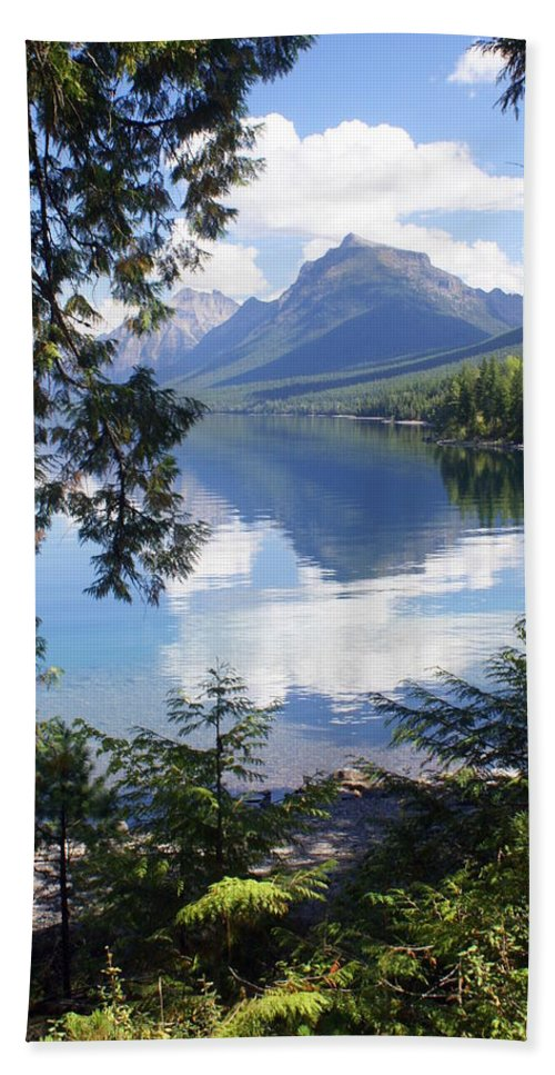 Glacier National Park Bath Towel featuring the photograph Lake Mcdlonald Through The Trees Glacier National Park by Marty Koch