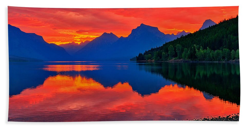 Glacier National Park Hand Towel featuring the photograph Lake Mcdonald Fiery Sunrise by Greg Norrell