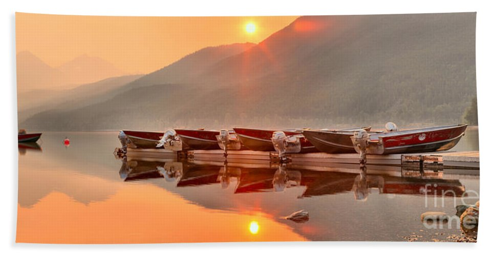 Lake Mcdonald Hand Towel featuring the photograph Lake Mcdonald Fiery Sunset by Adam Jewell