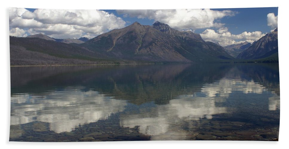 Glacier National Park Hand Towel featuring the photograph Lake Mcdonald Reflection Glacier National Park by Marty Koch