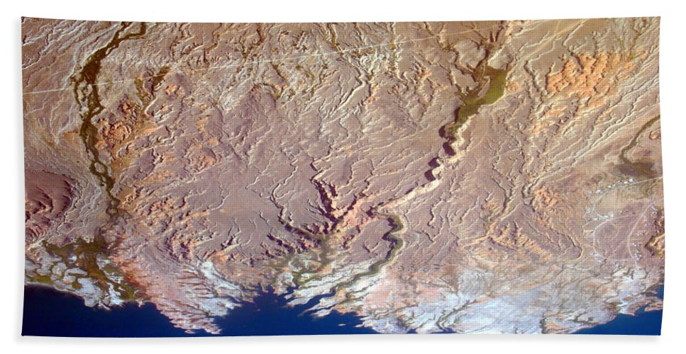 Aerial Bath Sheet featuring the photograph Lake Mead - Planet Art by James BO Insogna