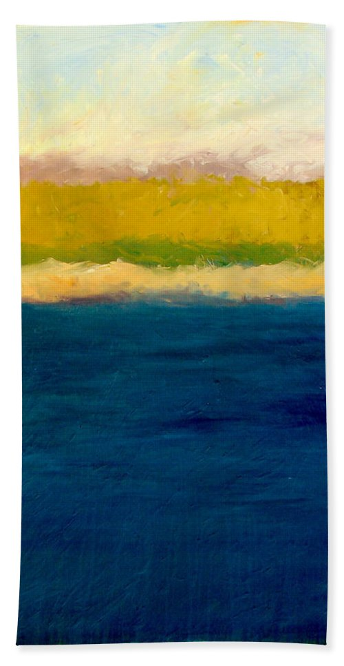 Dunes Bath Towel featuring the painting Lake Michigan Beach Abstracted by Michelle Calkins