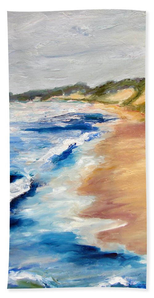 Whitecaps Bath Towel featuring the painting Lake Michigan Beach With Whitecaps Detail by Michelle Calkins