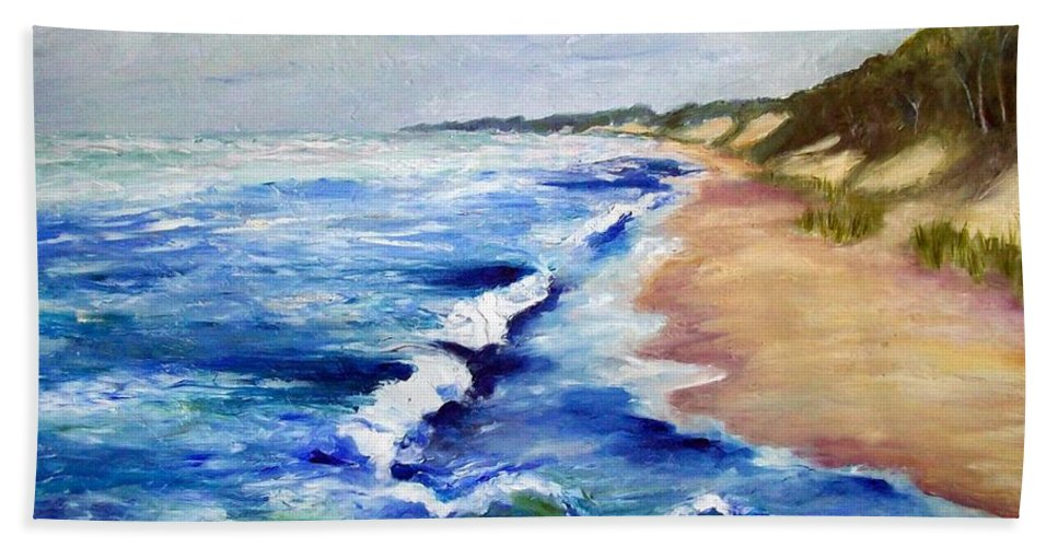 Whitecaps Hand Towel featuring the painting Lake Michigan Beach With Whitecaps by Michelle Calkins