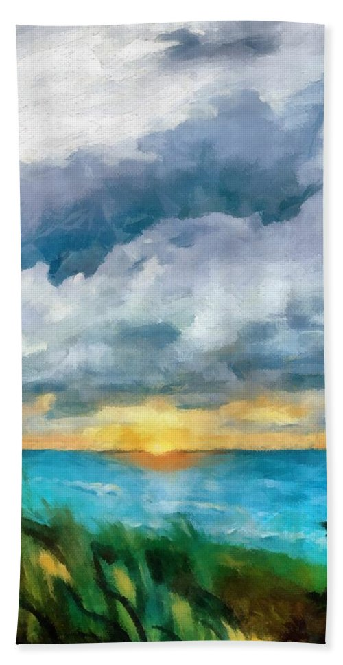 Golden Bath Sheet featuring the painting Lake Michigan Sunset by Michelle Calkins