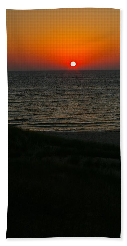 Sunset Hand Towel featuring the photograph Lake Michigan Sunset by Randy Pollard