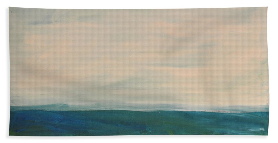 Lake Bath Towel featuring the painting Lake Michigan by Tim Nyberg