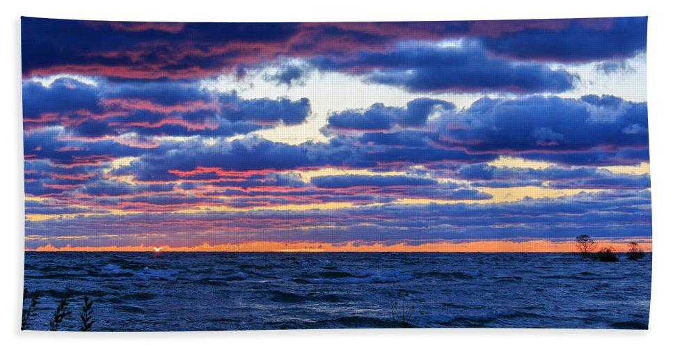 Door County Hand Towel featuring the photograph Lake Michigan Windy Sunrise by Joni Eskridge