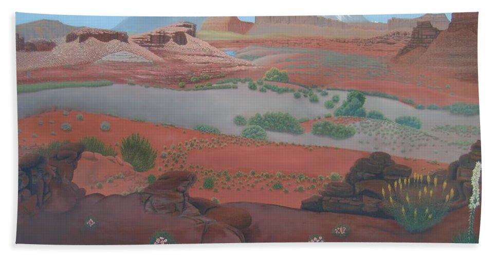 Farley Bath Sheet featuring the painting Lake Powell At Farley Canyon by Philipp Merillat