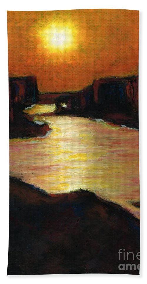 Lake Powell Bath Sheet featuring the painting Lake Powell At Sunset by Frances Marino