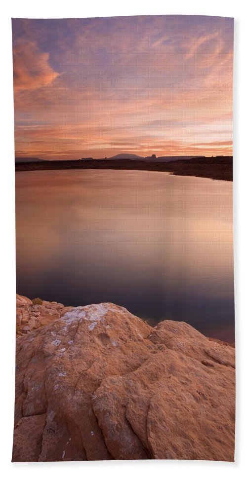 Lake Powell Hand Towel featuring the photograph Lake Powell Dawn by Mike Dawson