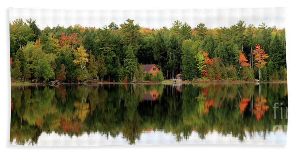 Lake Reflections Hand Towel featuring the photograph Lake Reflections Panorama 4370 4371 by Jack Schultz