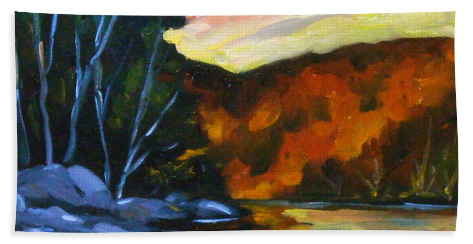 Art Bath Towel featuring the painting Lake Reflections by Richard T Pranke