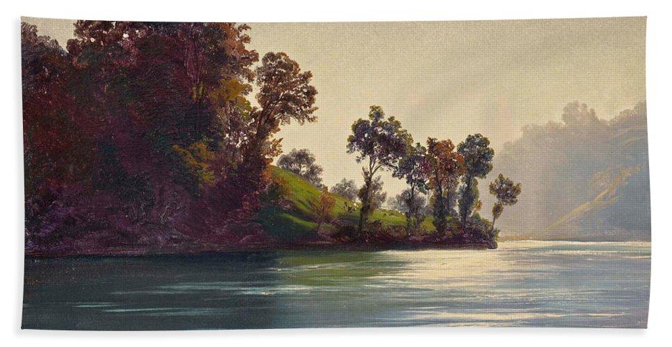 Robert Zuend Hand Towel featuring the painting Lake Scene by Robert Zuend