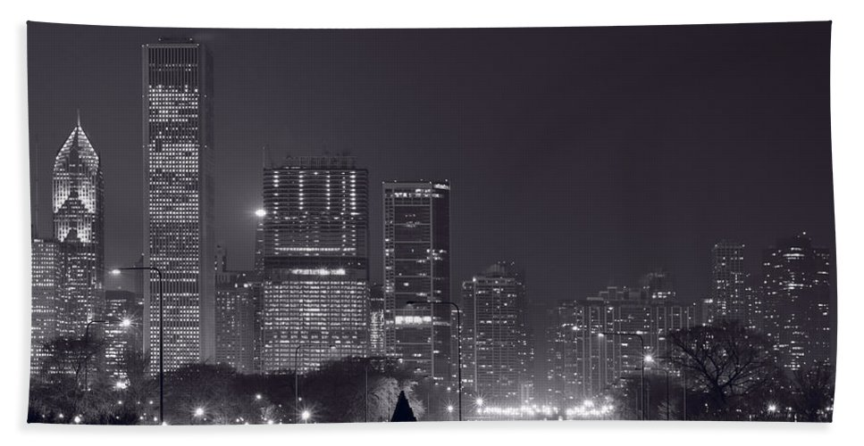 Building Hand Towel featuring the photograph Lake Shore Drive Chicago B And W by Steve Gadomski