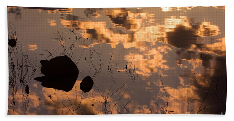 Sunrise Bath Sheet featuring the photograph Lake Sunset Reflections by James BO Insogna