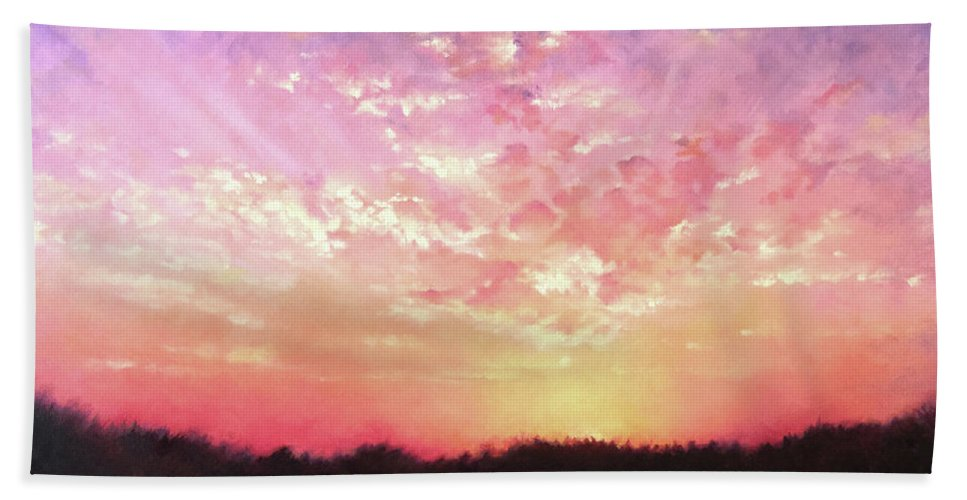 Landscape Bath Towel featuring the painting Lake Sunset by Teri Rosario