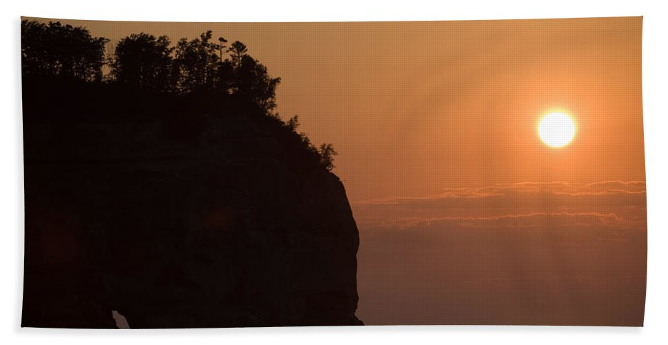 Lake Hand Towel featuring the photograph Lake Superior Sunset by Sebastian Musial