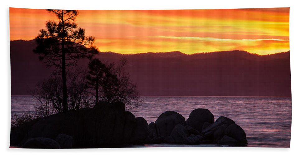 Steven Bateson Hand Towel featuring the photograph Lake Tahoe Sunset Colors by Steven Bateson