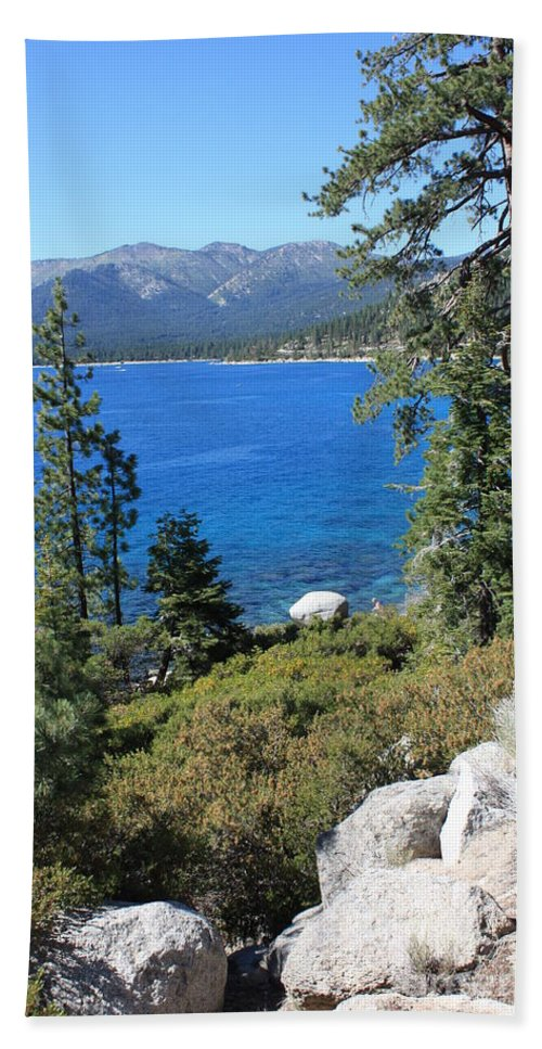 Lake Tahoe Bath Sheet featuring the photograph Lake Tahoe With Mountains by Carol Groenen