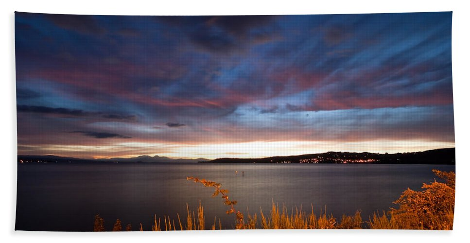 Beautiful Hand Towel featuring the photograph Lake Taupo Sunset by Marc Garrido