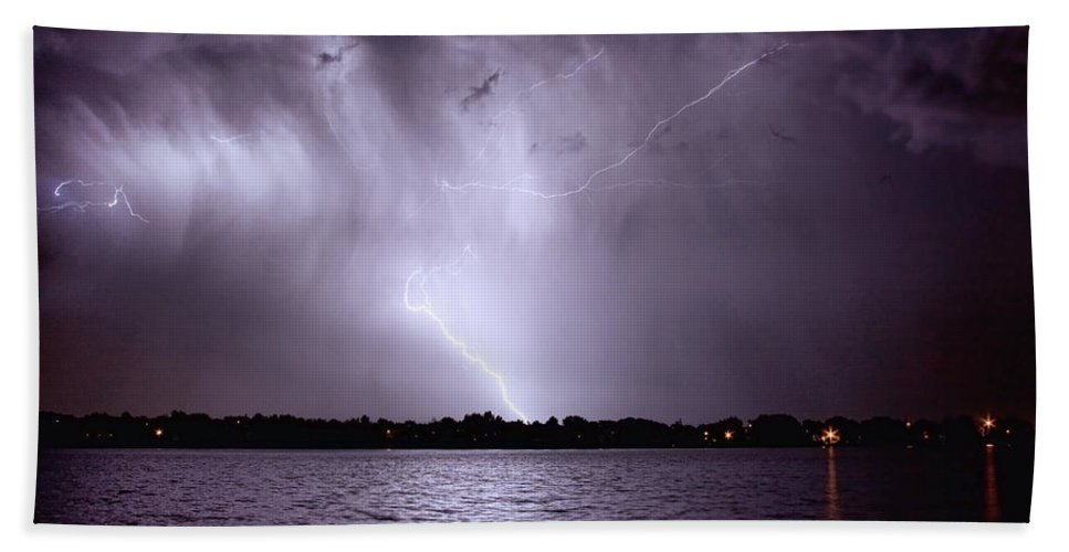 Lightning Hand Towel featuring the photograph Lake Thunderstorm by James BO Insogna