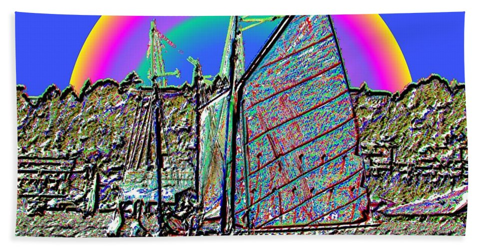 Seattle Hand Towel featuring the photograph Lake Union Rainbow Sail by Tim Allen