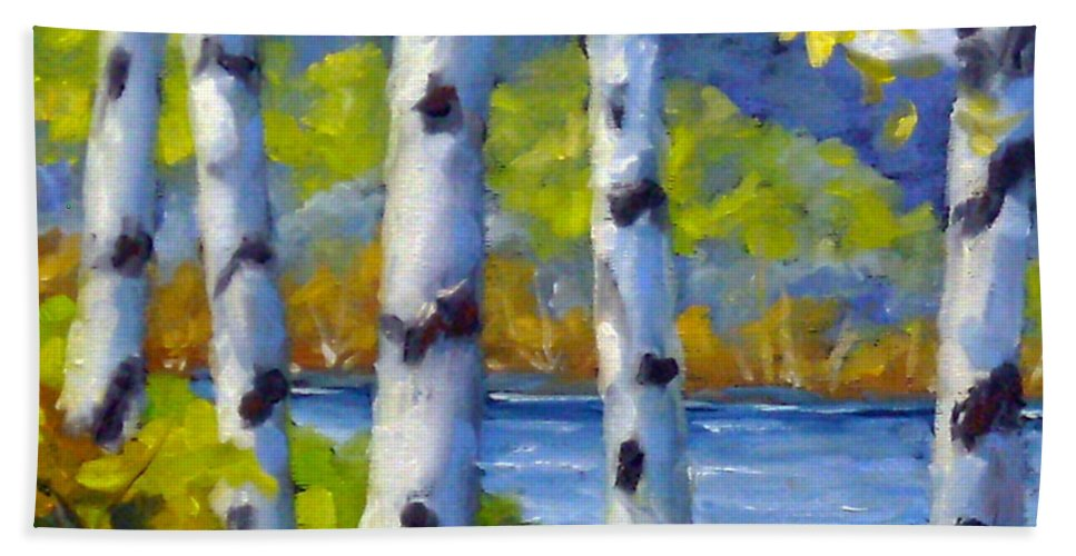 Original Painting;oil; Landscape; Birches; Trees; Nature; Richard T Pranke; Lake Bath Towel featuring the painting Lake View by Richard T Pranke