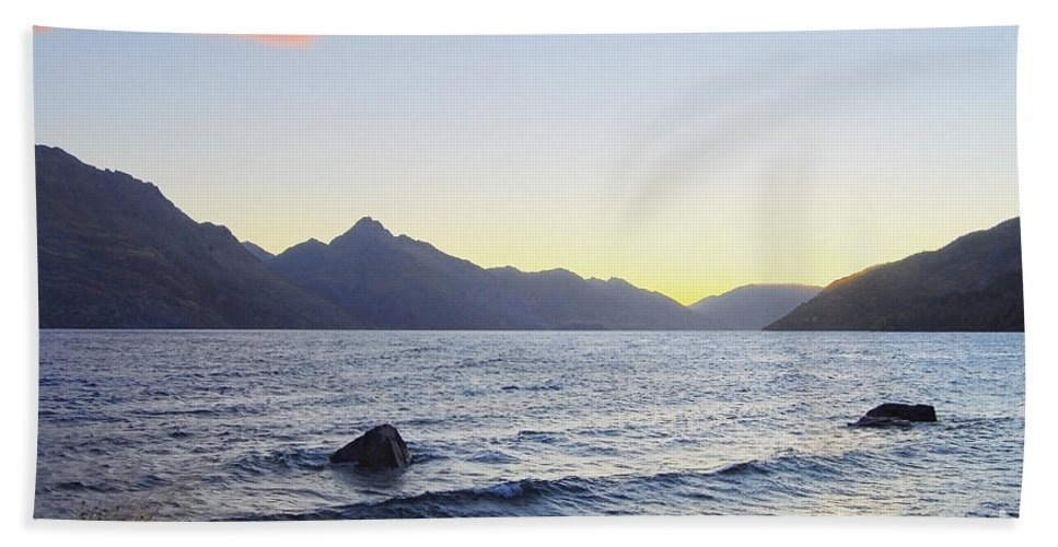 Lake Wakatipu Bath Sheet featuring the photograph Lake Wakatipu At Sunset by Catherine Sherman