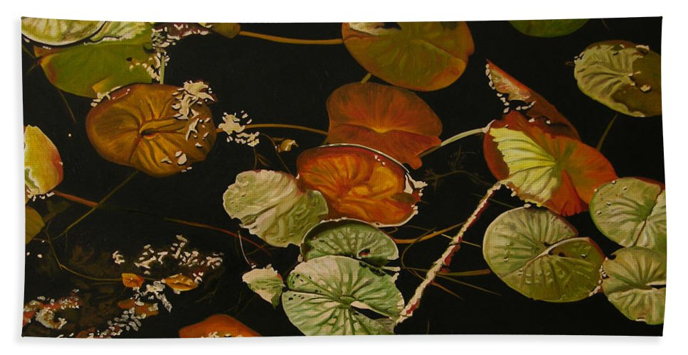 Lily Pad Hand Towel featuring the painting Lake Washington Lily Pad 15 by Thu Nguyen