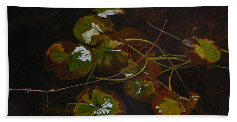 Waterlilies Hand Towel featuring the painting Lake Washington Lily Pad 16 by Thu Nguyen