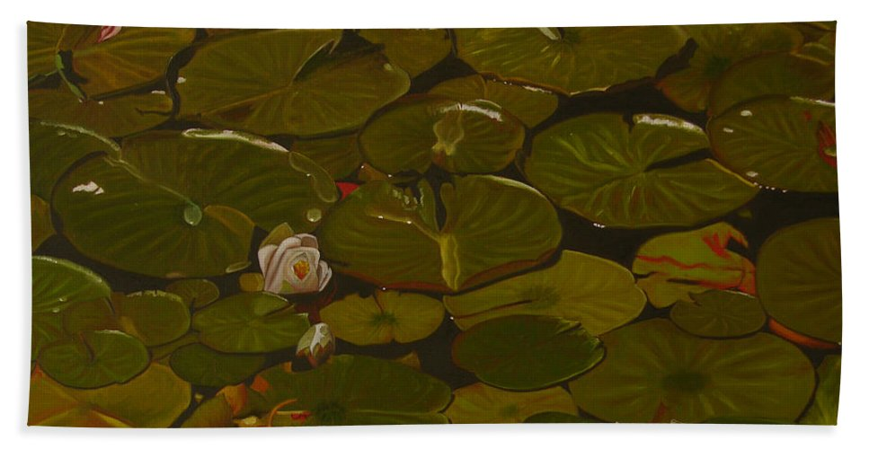 Lily Pad Hand Towel featuring the painting Lake Washington Lily Pad 17 by Thu Nguyen