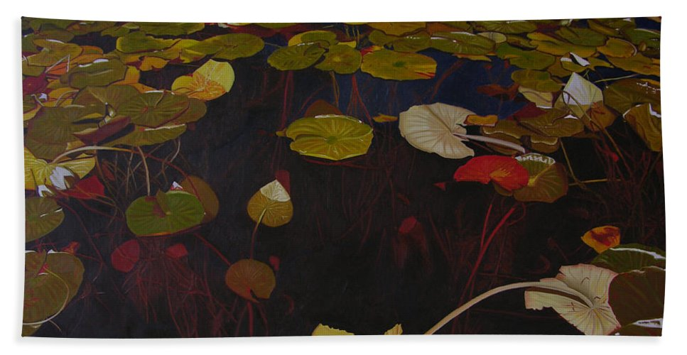Water Hand Towel featuring the painting Lake Washington Lilypad 7 by Thu Nguyen